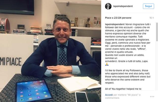 Lapo Elkan deixa as redes sociais (Foto: Reprodução/ Instagram)