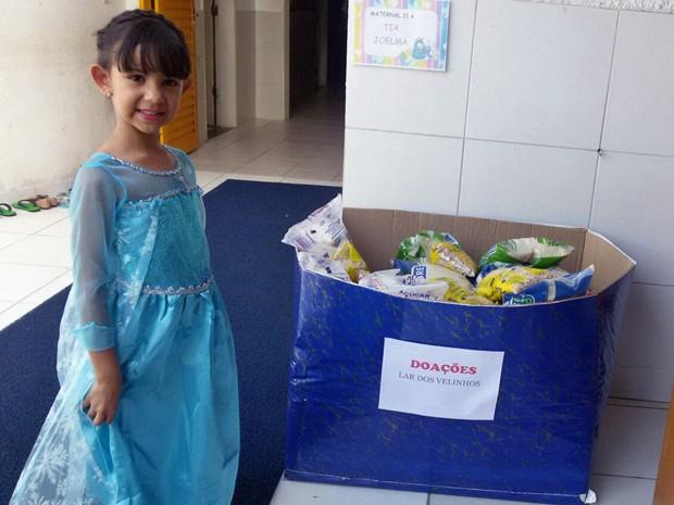 Bárbara, de 6 anos, recebeu doações em vez de presentes no seu aniversário (Foto: Priscilla Sales/Arquivo Pessoal)