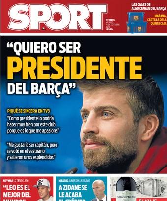 capa do sport, piqué presidente do barcelona (Foto: Reprodução)