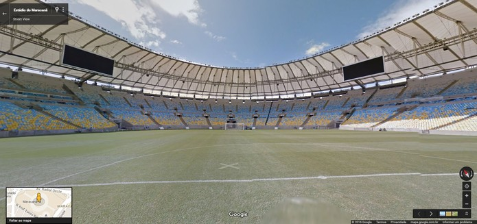 Gramado do Estádio do Maracanã aparece em fotos em 360 graus no Street View (Foto: Reprodução/Barbara Mannara)