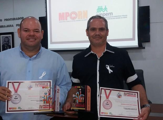 Jornalistas do G1RN levaram segundo e terceiro lugar na premiação (Foto: Paulo Araújo )