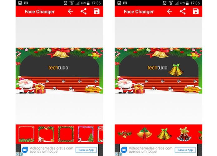Aplicativo Christmas Face Changer tem opção para desenhos, adesivos, textos e molduras natalinas (Foto: Reprodução/Barbara Mannara)