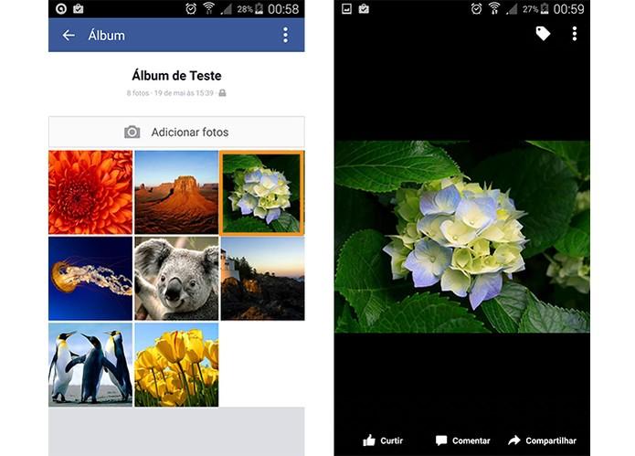 Abra a foto que você deseja compartilhar pelo app do Facebook (Foto: Reprodução/Barbara Mannara)