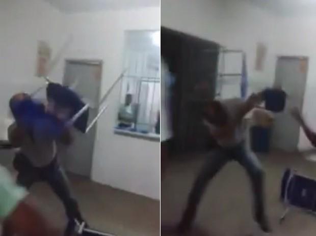 Professor e alunos se agridem com cadeiras, em escola de Jequié (Foto: Reprodução/Youtube)