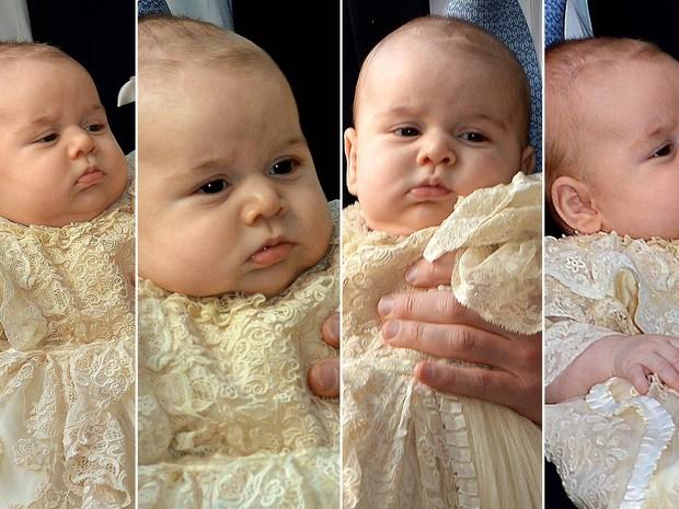 Caras e bocas do príncipe George na chegada para a cerimônia de batismo, no Palácio de St. James (Foto: John Stillwell/AP e Reuters)