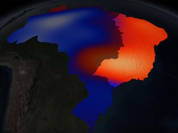 Mapa mostra contraste entre regiões mais úmidas e secas do Brasil (Foto: Divulgação / Nasa)