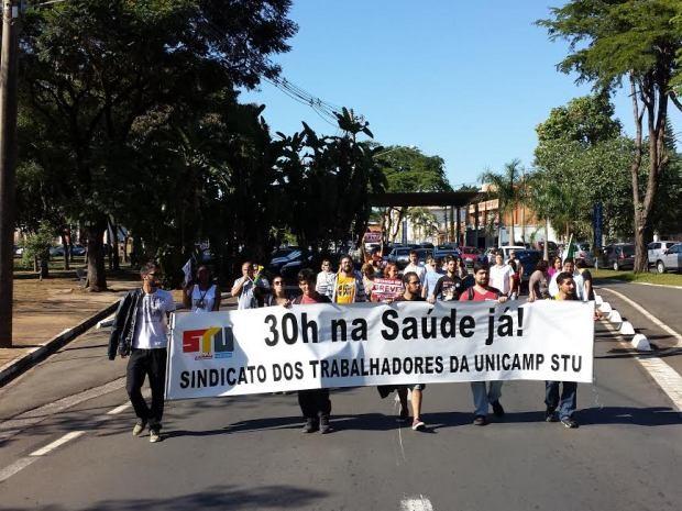 Funcionários realizam passeata em campus da Unicamp, em Campinas (Foto: Sindicato dos Trabalhadores da Unicamp)