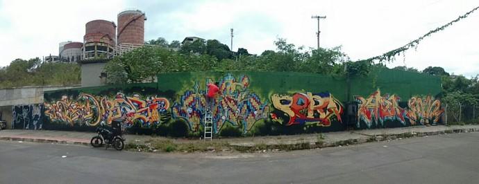Muro finalizado em Paul durante o Festival Latinta (Foto: Aline Alves)