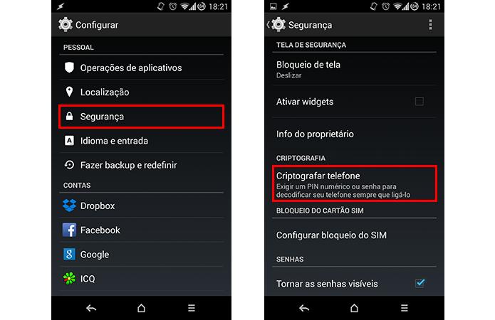 Acesse o menu de criptografia do aparelho (Foto: Reprodução/Paulo Alves)
