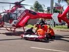 Motociclista se fere em batida no DF e é levado de helicóptero a hospital