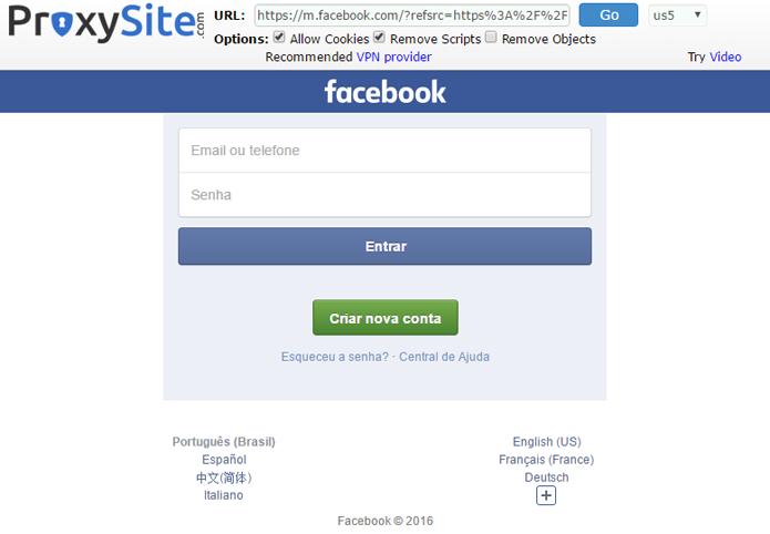 Site acessa Facebook indiretamente (Foto: Reprodução/ProxySite)