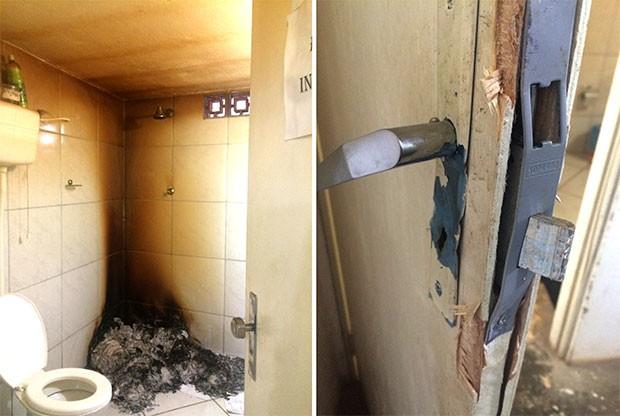 Criminosos arrombaram a porta da delegacia e queimaram os BOs dentro do banheiro (Foto: Divulgação/Polícia Civil)