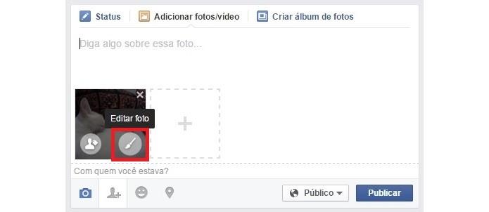 Destaque para botão Editar foto em miniatura do post de Facebook (Foto: Reprodução/ Raquel Freire)
