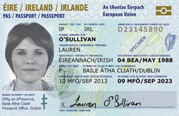 Novo cartão de passaporte da Irlanda poderá ter selfie e será solicitado por aplicativo para celular. (Foto: Divulgação/Ministério das Relações Internacionais da Irlanda)