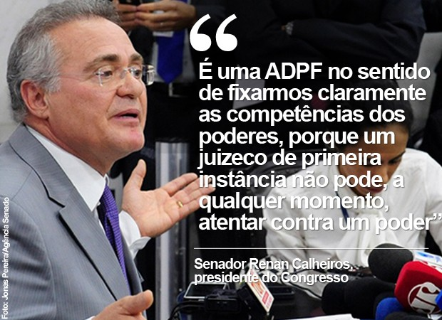 O presidente do Congresso, senador Renan Calheiros, ao falar sobre 'juizeco' de primeira instância (Foto: Jonas Pereira/Agência Senado)