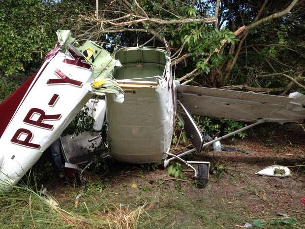 Aeronave ficou partida após pouso forçado (Foto: Anna Tiago/G1)