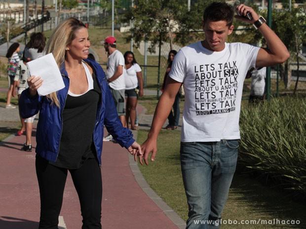 Namorado de Dani Winits, o jogador Amuri Nunes, deu uma passadinha pra apoiar a atriz (Foto: Malhação / TV Globo)