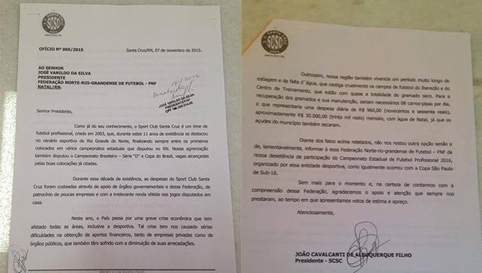 Carta de Desistência Santa Cruz-RN FNF (Foto: Reprodução)