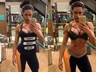 Gracyanne Barbosa mostra selfie exibindo o abdômen tanquinho