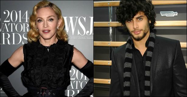 """Madonna é uma notória fã de homens mais moços. Quem não se recorda do """"caso sério"""" dela com o modelo brasileiro Jesus Luz? Atualmente a rainha do pop tem 56 anos de vida, e Jesus, exatamente a metade: 28. (Foto: Getty Images)"""