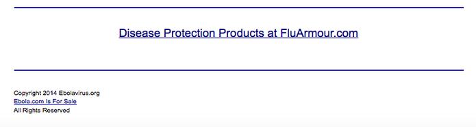 'Ebola.com for sale', afirma tela incial do site (Foto: Reprodução/Ebola.com)