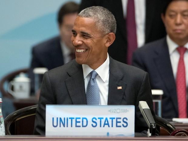 O presidente dos EUA, Barack Obama, durante a abertura da cúpula do G20 em Hangzhou, neste domingo (4) (Foto: Reuters/Mark Schiefelbein)