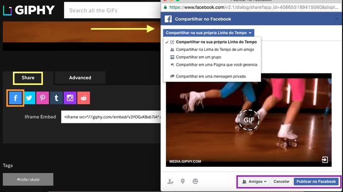 Também é possível publicar o GIF direto do Giphy para o Facebook, no botão Share (Foto: Melissa Cruz / TechTudo)