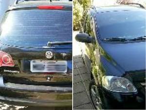 Um carro bem cuidado foi encontrado na garagem (Foto: Renata Cristiane)