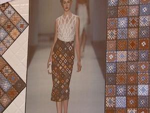 Cerâmica reproduz vestido de crochê em Santa Gertrudes (Foto: Reprodução/EPTV)