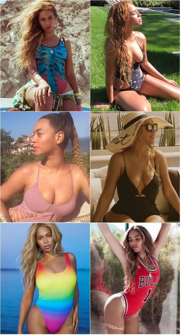 Beyoncé parece ter aposentado o biquíni. A cantora apareceu usando todos os tipos de maiô nos últimos meses (Foto: Reprodução do Instagram)