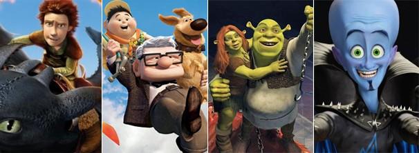 'Como Treinar Seu Dragão', 'Up - Altas Aventuras', 'Megamente' e 'Shrek Para Sempre' estão na lista de estreias (Foto: reprodução/divulgação)