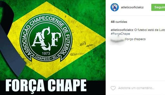 Atlético lamenta queda de avião da Chapecoense (Foto: Reprodução / Instagram)