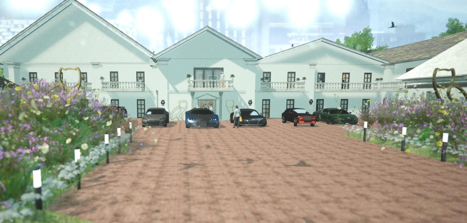 A mansão Drizzy Manor, desenhada espacialmente para Drake (Foto: Divulgação/ OPTIAS)