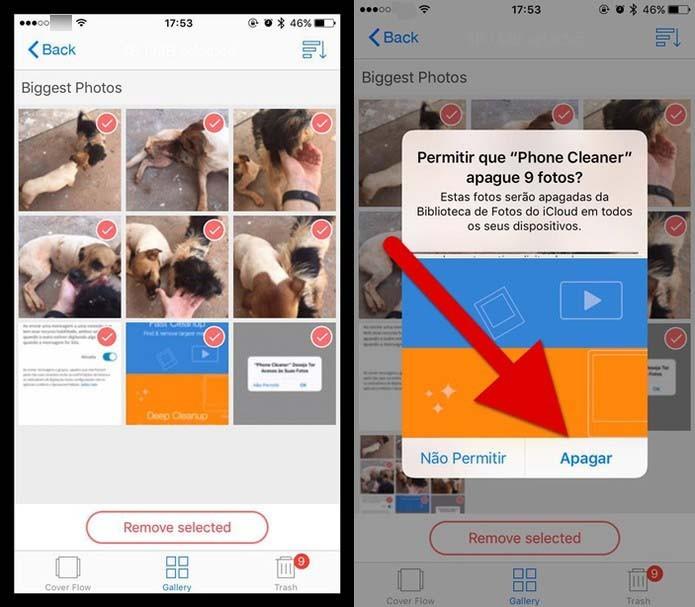Apagando as imagens com o app Phone Cleaner (Foto: Reprodução/Felipe Alencar)