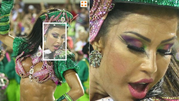 Superzoom permite ver as musas do carnaval em detalhes (Editoria de Arte/G1)