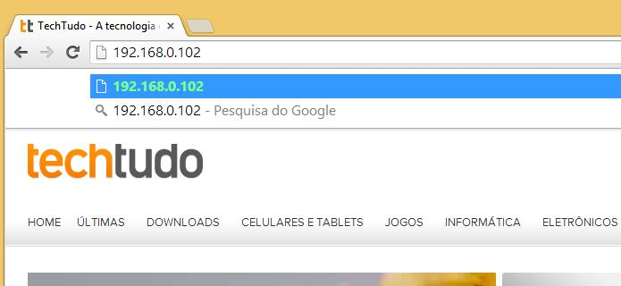 Digite o endereço fornecido pelo aplicativo no navegador (Foto: Reprodução/Helito Bijora)