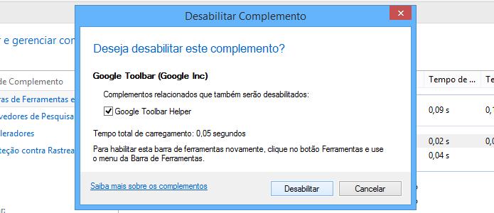 Confirme que deseja desativar o Google Toolbar (Foto: Reprodução/Helito Bijora)