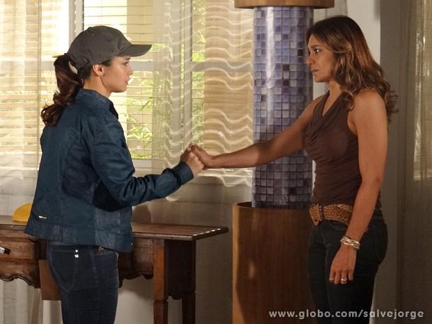 Morena pede para Lucimar cuidar de Junior e Jéssica Vitória (Foto: Salve Jorge/TV Globo)