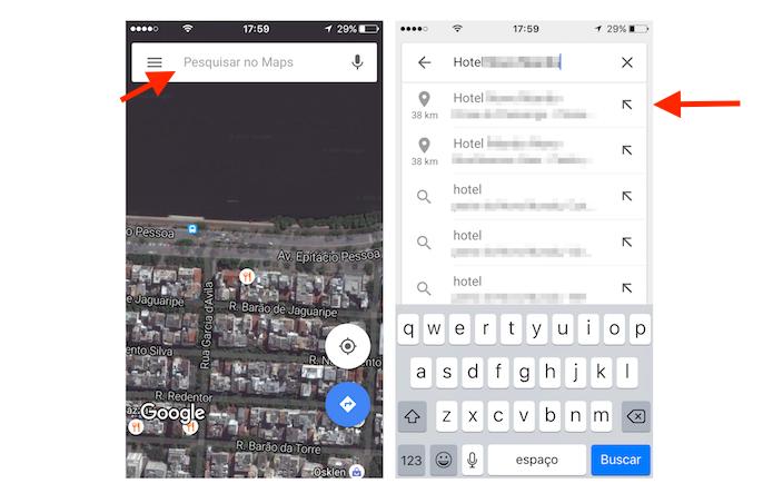 Busca por um hotel no Google Maps (Foto: Reprodução/Marvin Costa)