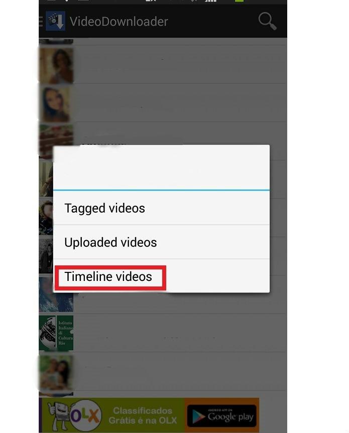 Escolha um dos amigos para fazer o download de vídeos (Reprodução/Taysa Coelho)