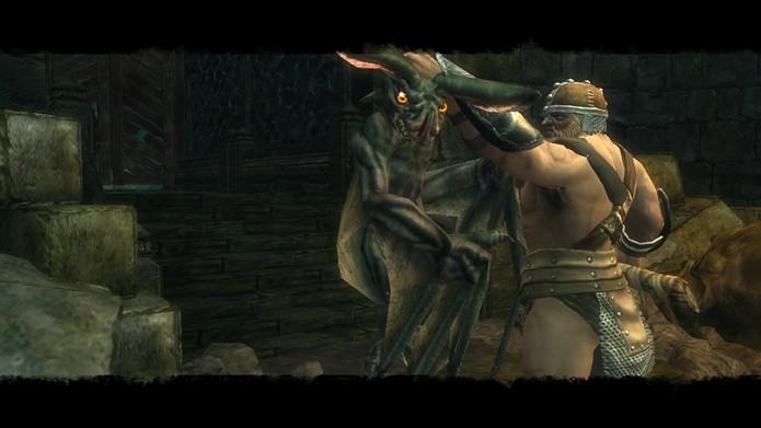 Em alguns combates dos violentos combates de Ascend: Hand of Kul o guerreiro gigante poderá aplicar finalizações em seus inimigos (Foto: Reprodução/Daniel Ribeiro)