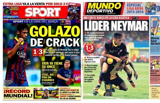 Jornais espanhóis destacam atuação de Neymar contra a Malásia (Foto: Reprodução)