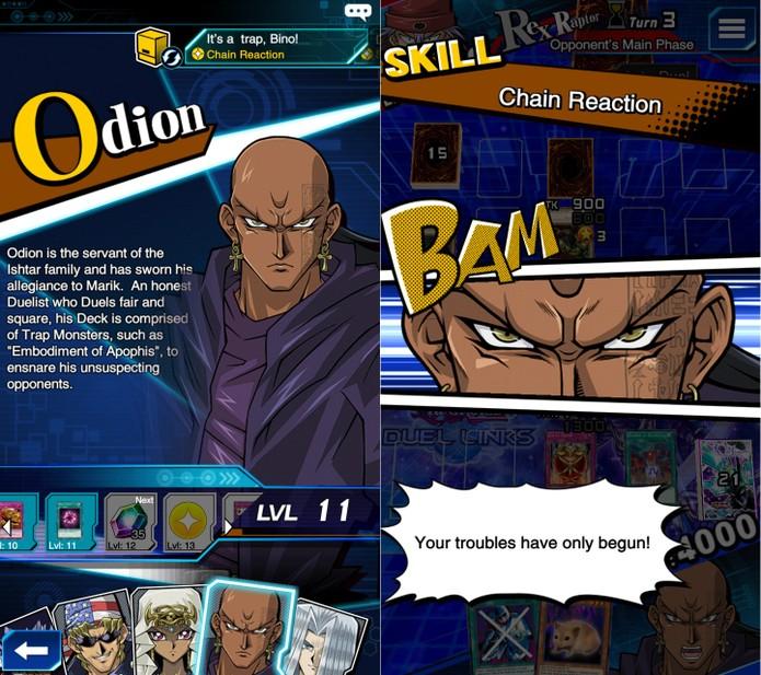 Yu-Gi-Oh! Duel Links: skills de Odion são focadas em traps (Foto: Reprodução/Vinícius Mathias)