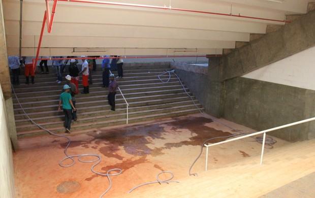 estádio Mané Garrincha - túnel acesso ao campo (Foto: Fabrício Marques)