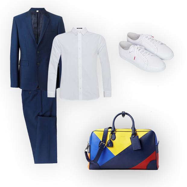 Costume Burberry (R$ 8.060 na Farfetch), camisa Replay para C&A (R$ 129,99), tênis de couro Twins for Peace (R$ 580), bolsa Ralph Lauren (R$ 14.200) (Foto: Divulgação)