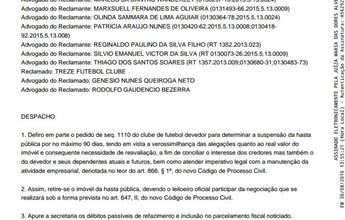Treze consegue na justiça suspensão de leilão do Estádio Presidente Vargas