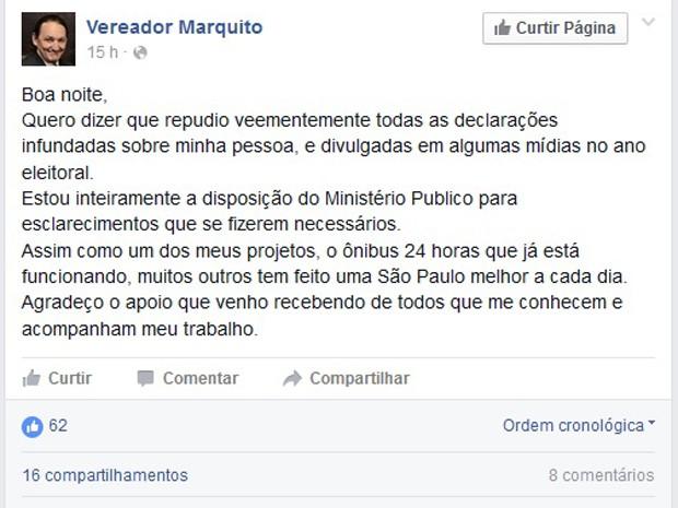 Em nota divulgada nas redes sociais, Marquito nega denúncias feitas por ex-funcionários (Foto: Reprodução/Facebook)
