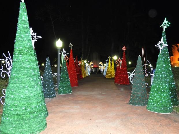 Praça em Poços de Caldas ganha colorido especial durante o Natal. (Foto: Lúcia Ribeiro/G1)