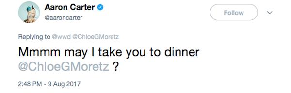 O convite de Aaron Carter propondo um encontro à atriz Chloe Grace Moretz (Foto: Twitter)