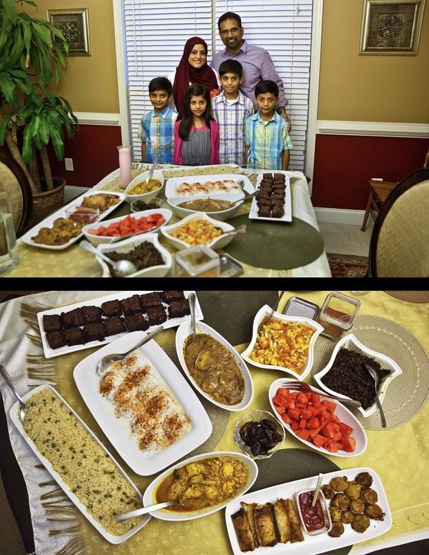 Iftar é celebrado em família na cidade de Tucker, Geórgia (EUA) (Foto: David Goldman/AP)